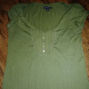 OLIVE TOP w/ RIBBED WAIST